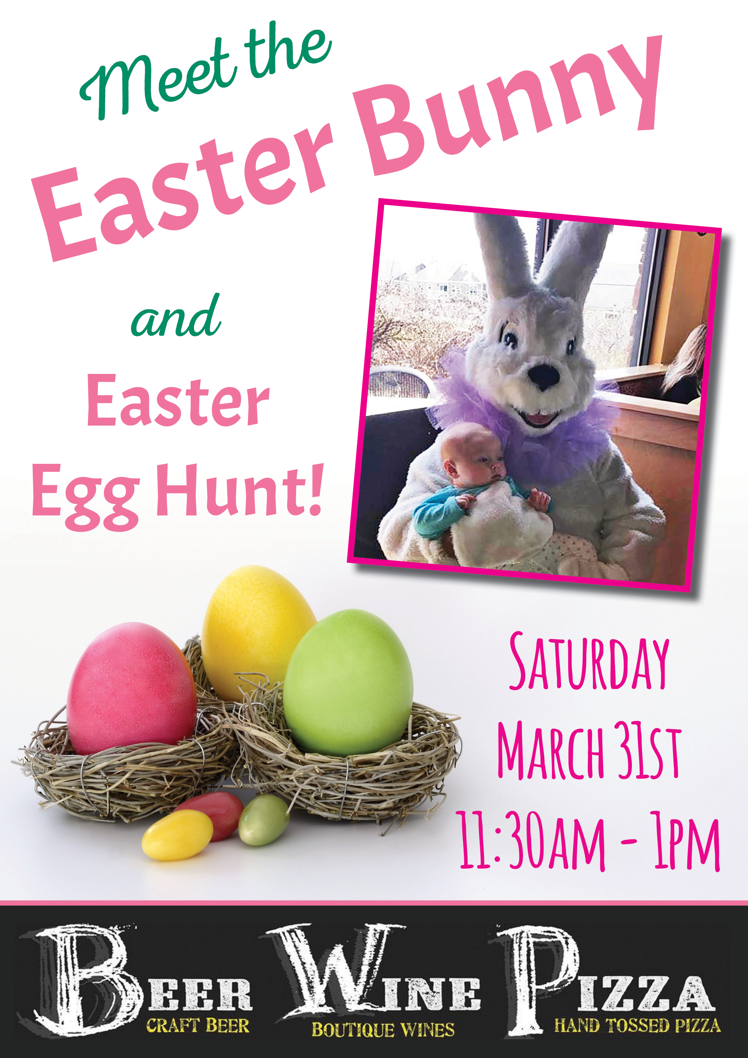 Meet the easter bunny easter egg hunt at bwp beer wine pizza location m4hsunfo